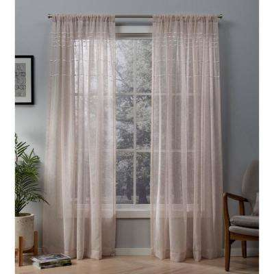 Davos 54 in. W x 84 in. L Sheer Rod Pocket Top Curtain Panel in Blush (2 Panels)