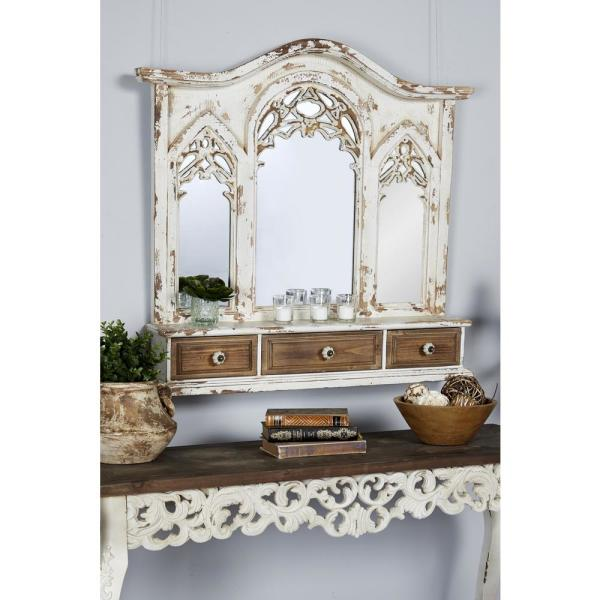 Medium Arch Distressed White French Provincial Mirror (34 in. H x 7.68 in. W)