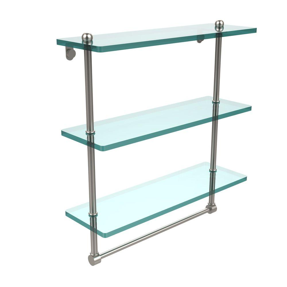 Allied Brass 16 in. L  x 18 in. H  x 5 in. W 3-Tier Clear Glass Bathroom Shelf with Towel Bar in Satin Nickel