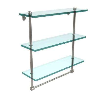 16 in. L  x 18 in. H  x 5 in. W 3-Tier Clear Glass Bathroom Shelf with Towel Bar in Satin Nickel
