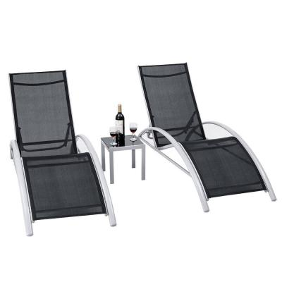 Steel Patio Outdoor Lounge Chairs Reclining Chair Set (3-Piece)