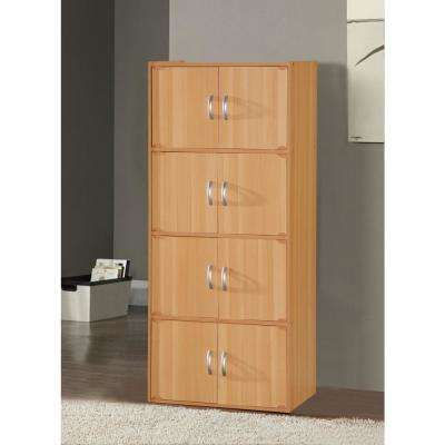 4-Shelf, 54 in. H Beech Bookcase with Double Doors