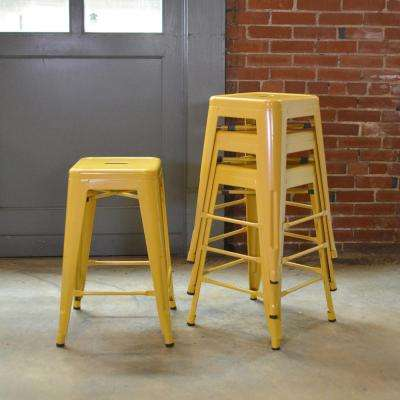AmeriHome Loft Style 24 inch Stackable Metal Bar Stool in Gold (Set of 4)