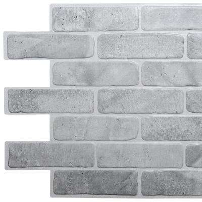3D Falkirk Retro 10/1000 in. x 40 in. x 19 in. Vintage Grey Faux Brick PVC Wall Panel