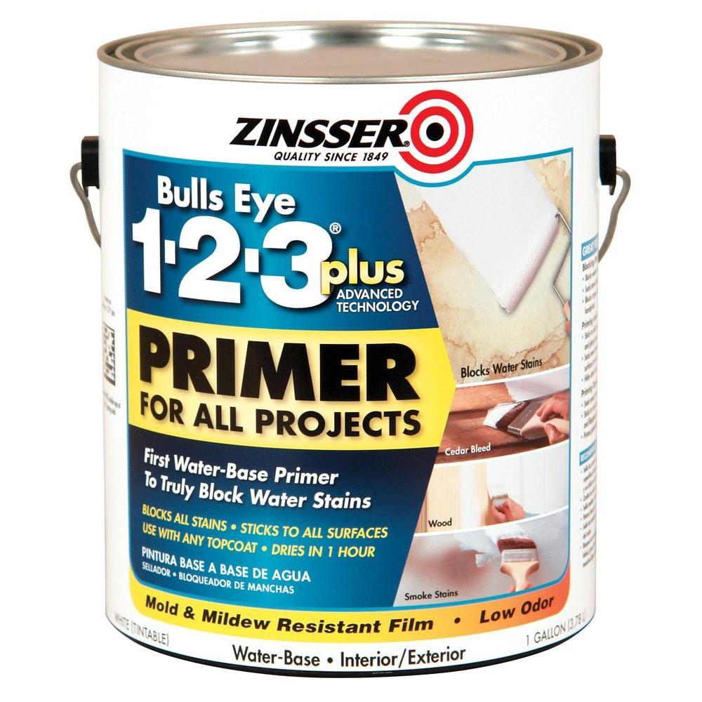 Zinsser Bulls Eye 1-2-3 Plus 1 gal. White Water-Based Interior/Exterior Primer and Sealer (2-Pack)