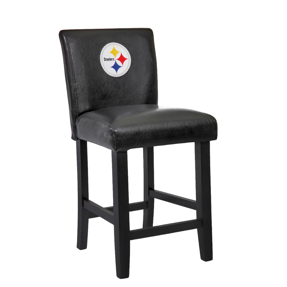 Pittsburgh Steelers 24 In Black Bar Stool With Faux