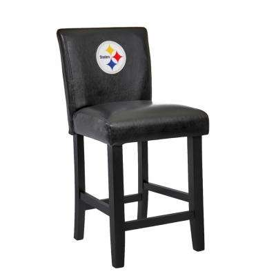 Pittsburgh Steelers 24 in. Black Bar Stool with Faux Leather Cover (Set of 2)