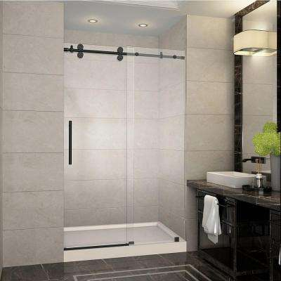 Langham 48 in. x 77.5 in. Completely Frameless Sliding Shower Door in Oil Rubbed Bronze with Left Base