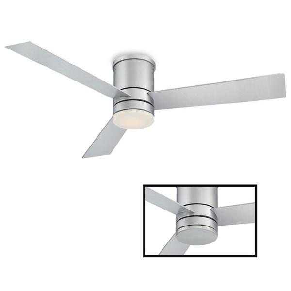 Axis 52 in. LED Indoor/Outdoor Titanium Silver 3-Blade Smart Flush Mount Ceiling Fan w/ 3000K Light Kit and Wall Control