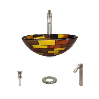 Glass Vessel Sink in Stained Glass with 726 Faucet and Pop-Up Drain in Brushed Nickel