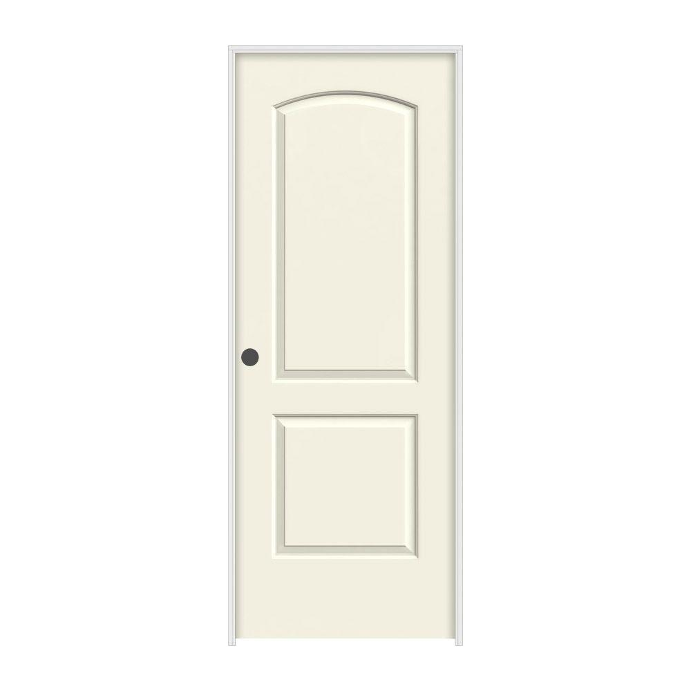 JELD-WEN 32 in. x 80 in. Continental Vanilla Painted Right-Hand Smooth Molded Composite MDF Single Prehung Interior Door