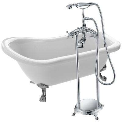 Pegasus 66.93 in. Acrylic Clawfoot Non-Whirlpool Bathtub in White with Tugela Faucet in Polished Chrome