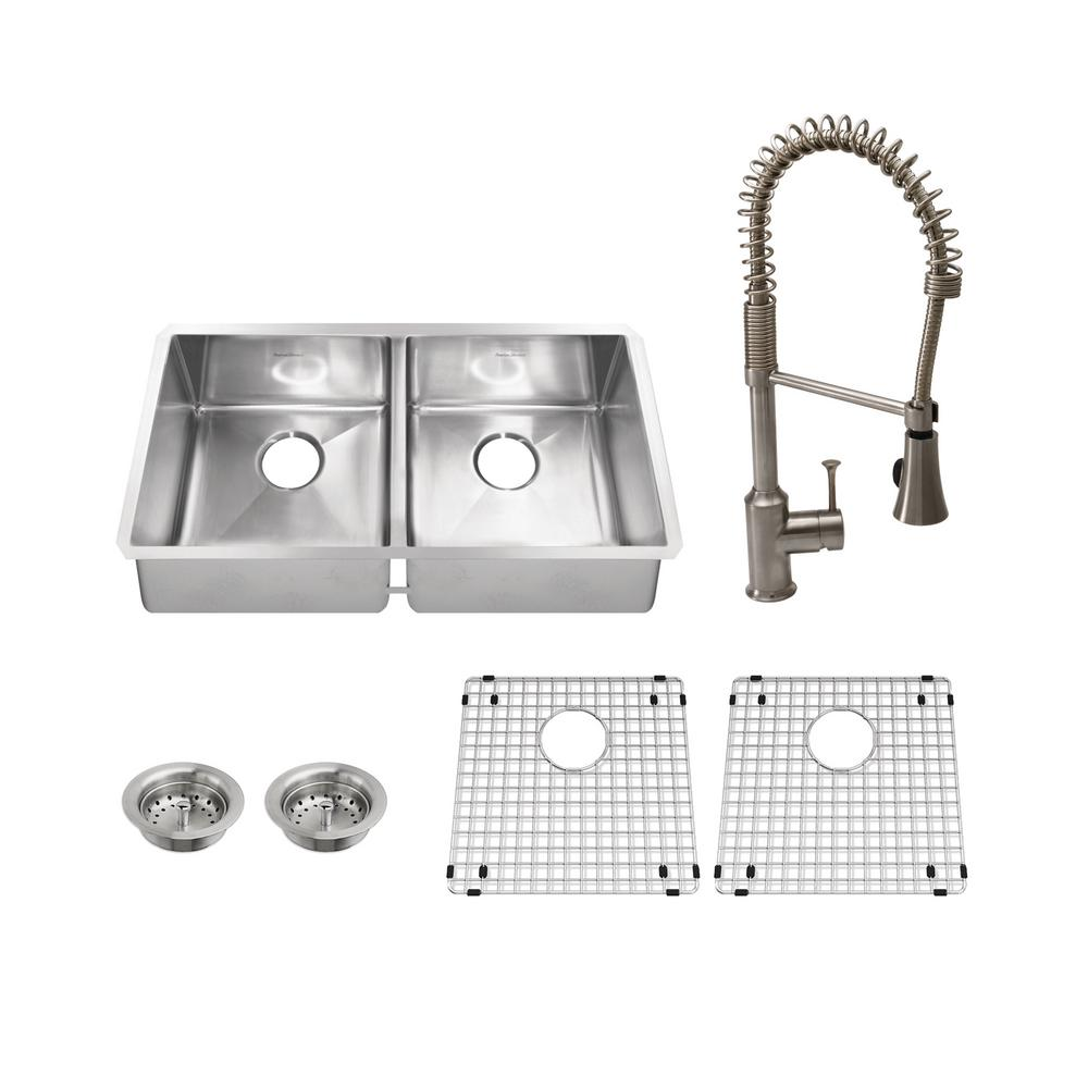 american standard pekoe all in one undermount stainless steel 35 in  50 50 double bowl kitchen sink with faucet in stainless steel 7731003 075   the home     american standard pekoe all in one undermount stainless steel 35      rh   homedepot com