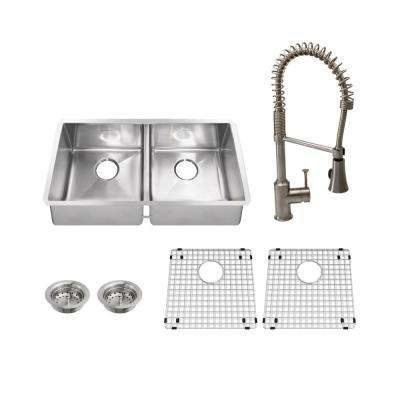 Pekoe All-in-One Undermount Stainless Steel 35 in. 50/50 Double Bowl Kitchen Sink with Faucet in Stainless Steel