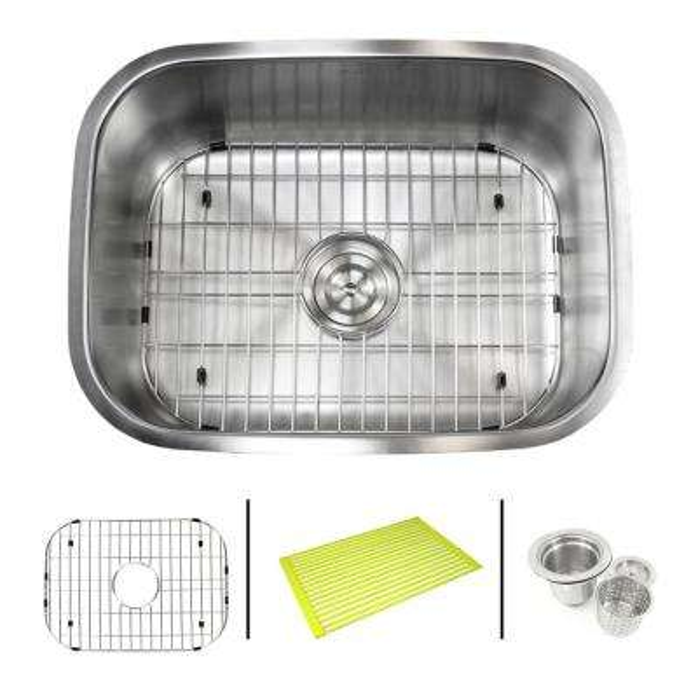 Undermount 16-Gauge Stainless Steel 23-3/8 in. x 17-3/4 in. x 9 in. Single Bowl Kitchen Sink Combo