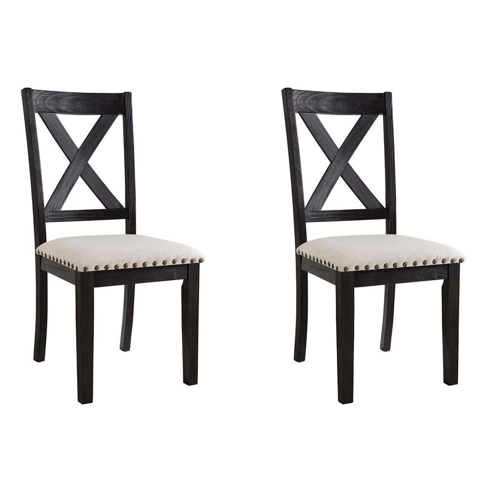 Bradley Dark Walnut X Back Side Chair Set