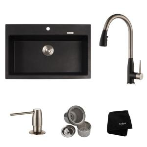 Kraus All-in-One Drop-In/Undermount Granite Composite 31 inch Single Bowl Kitchen Sink with Faucet in Stainless Steel... by KRAUS