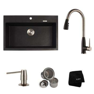 All-in-One Dual Mount Granite Composite 31 in. Single Bowl Kitchen Sink with Faucet in Stainless Steel and Black Onyx