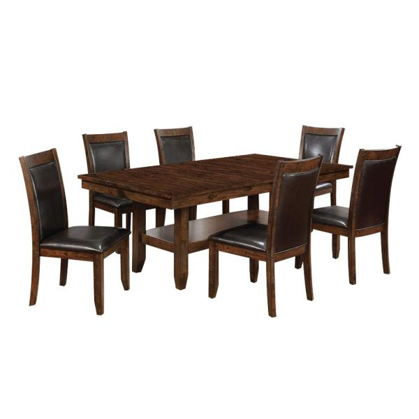 7-Piece Meagan I in Brown Cherry Dining Table Set
