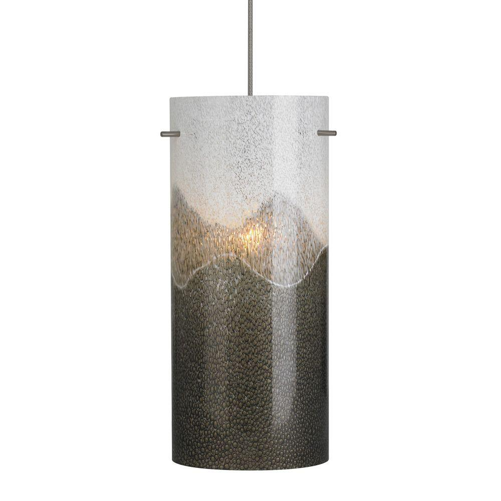 Dahling 1-Light Bronze LED Mini Pendant with Gray-Opal Shade