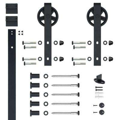 Hook Strap Black Rolling Barn Door Hardware Kit with 5 in. Wheel