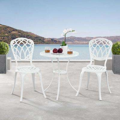 Ornate Traditional White 3-Piece Aluminum Outdoor Patio Garden Bistro Set