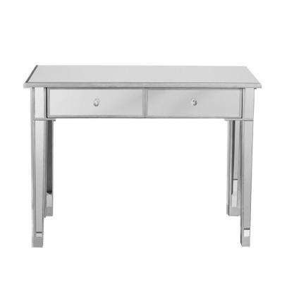 Mirrored Console Table/Vanity Table with 2-Drawers Silver and Clear