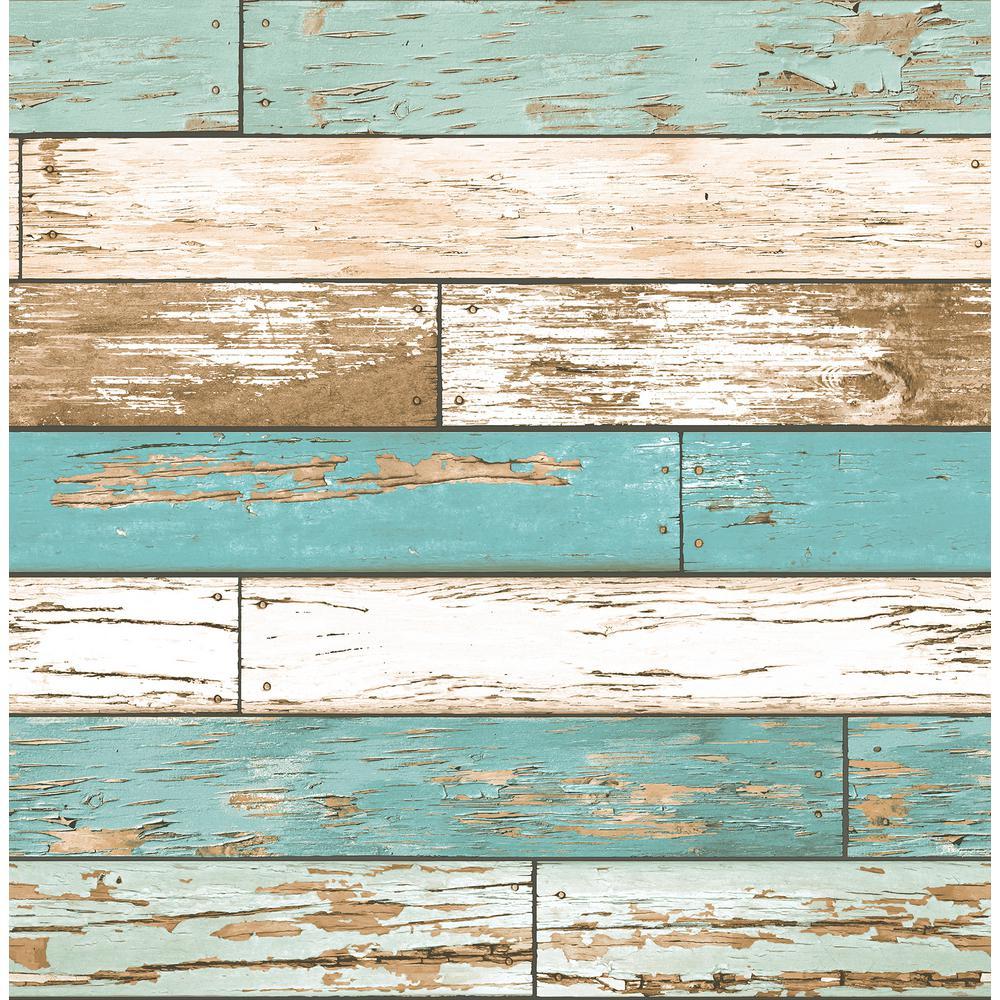 Wynona Blue Scrap Wood Wallpaper