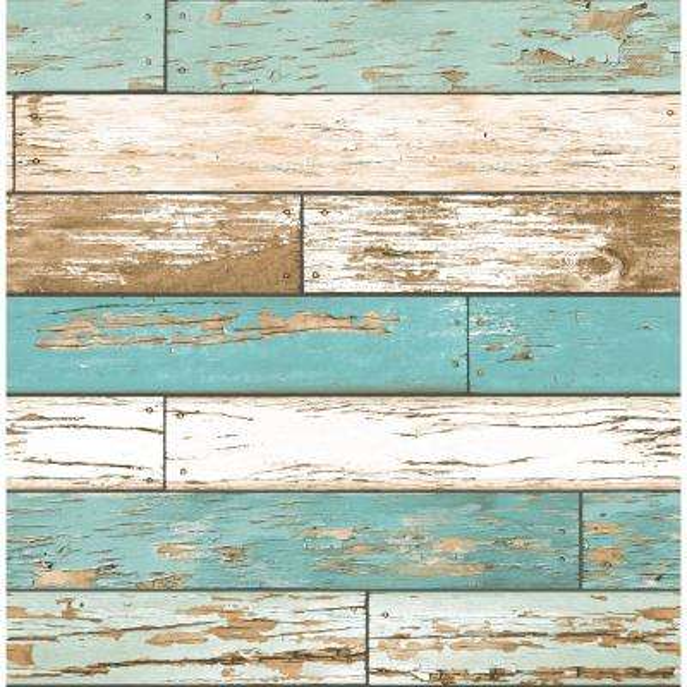 Wynona Blue Scrap Wood Wallpaper Sample