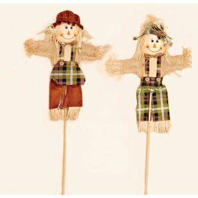 12 in. Scarecrow Pick on 10 in. Stick (4-Set of 2)