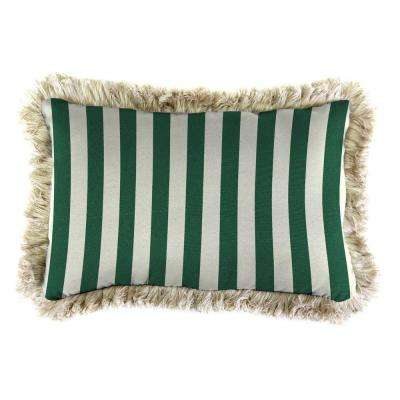 Sunbrella 19 in. x 12 in. Mason Forest Green Lumbar Outdoor Throw Pillow with Canvas Fringe