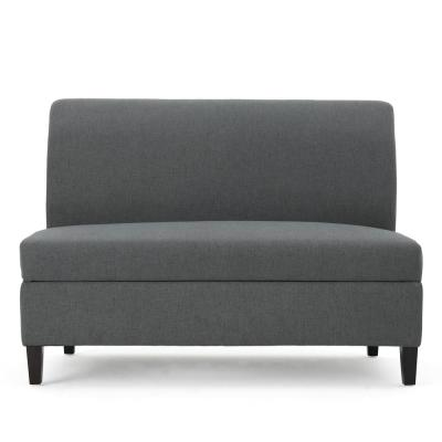 47.2 in. Charcoal Gray Polyester 2-Seater Armless Loveseat with Wood Legs