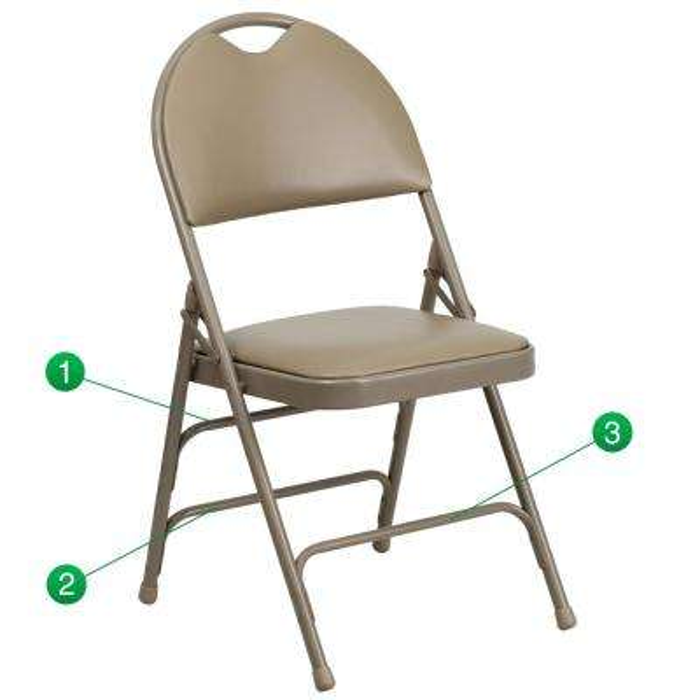 Hercules Series Extra Large Ultra-Premium Triple Braced Beige Vinyl Metal Folding Chair with Easy-Carry Handle