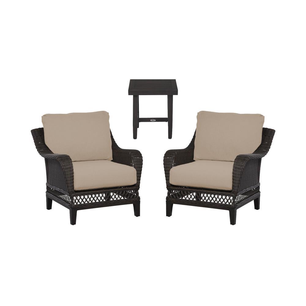 Woodbury 3-Piece Dark Brown Wicker Outdoor Patio Seating Set with Sunbrella Beige Tan Cushions