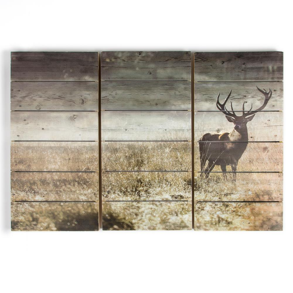 "24 in. x 35 in. ""Highland Stag"" Wooden Wall Art"