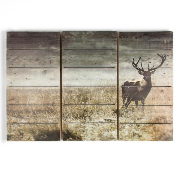 "Graham & Brown 24 in. x 35 in. ""Highland Stag"" Wooden Wall Art"