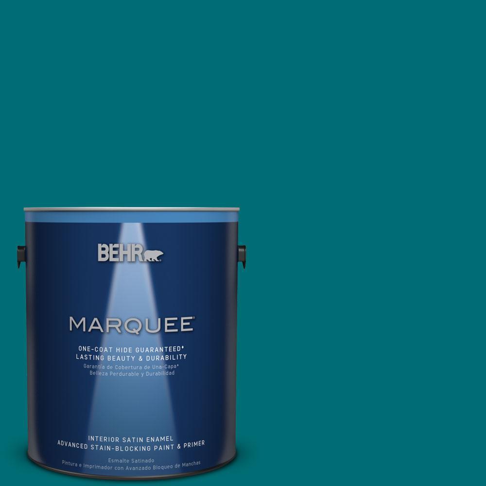 1 gal. #MQ6-35 Teal Motif One-Coat Hide Satin Enamel Interior Paint