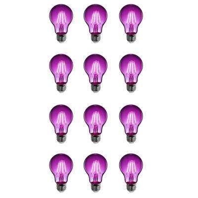 25W Equivalent Purple-Colored A19 Dimmable Filament LED Clear Glass Light Bulb (Case of 12)