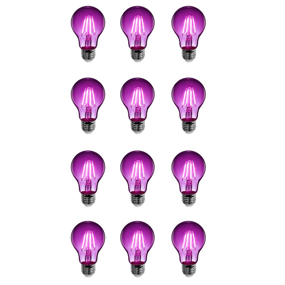 25W Equivalent Purple-Colored A19 Dimmable Filament LED Clear Glass Light Bulb