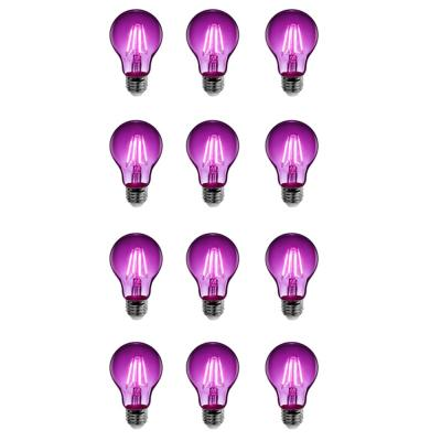 25-Watt Equivalent A19 Medium E26 Base Dimmable Filament Purple Colored LED Clear Glass Light Bulb (12-Pack)