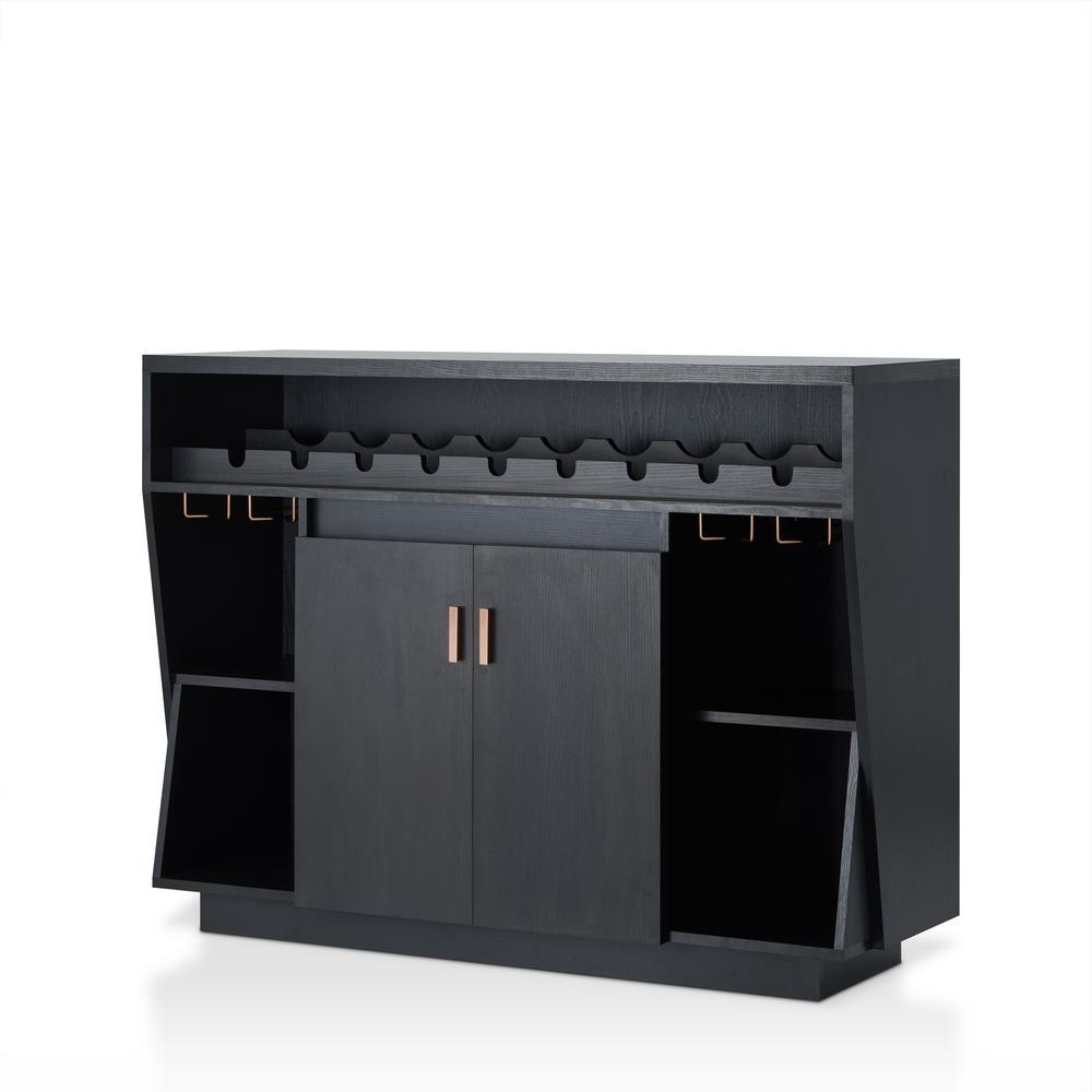 Nausta 10-Bottle Black Wine Cabinet