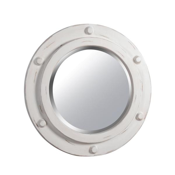 Medium Oval White Beveled Glass Novelty Mirror (24 in. H x 24 in. W)