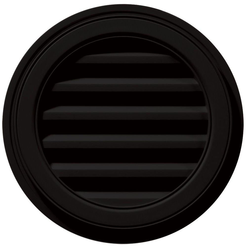 Builders Edge 18 in. Round Gable Vent in Black