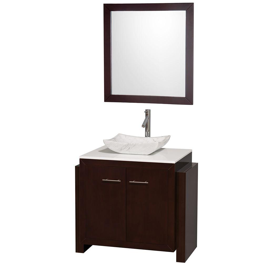 Wyndham Collection Hudson 36 in. Vanity in Espresso with Man-Made Stone Vanity Top in White and Carrara White Mable Sink-DISCONTINUED