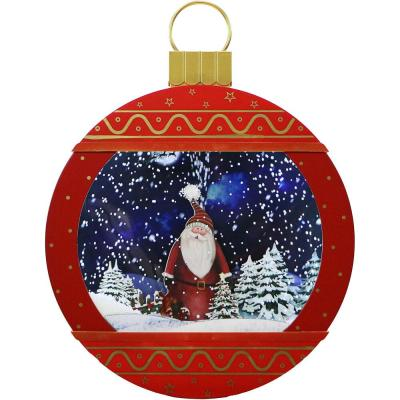 24 in. Christmas Ornament Shadowbox in Red with Santa Scene, Cascading Snow, and Holiday Music