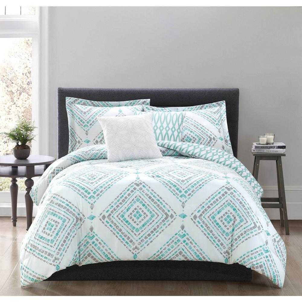 set free piece shipping chevron laila bed intelligent comforter today overstock bedding design bath teal product