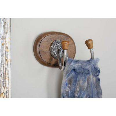 Brown Wood and Silver Aluminum 2-Pronged Wall Hook
