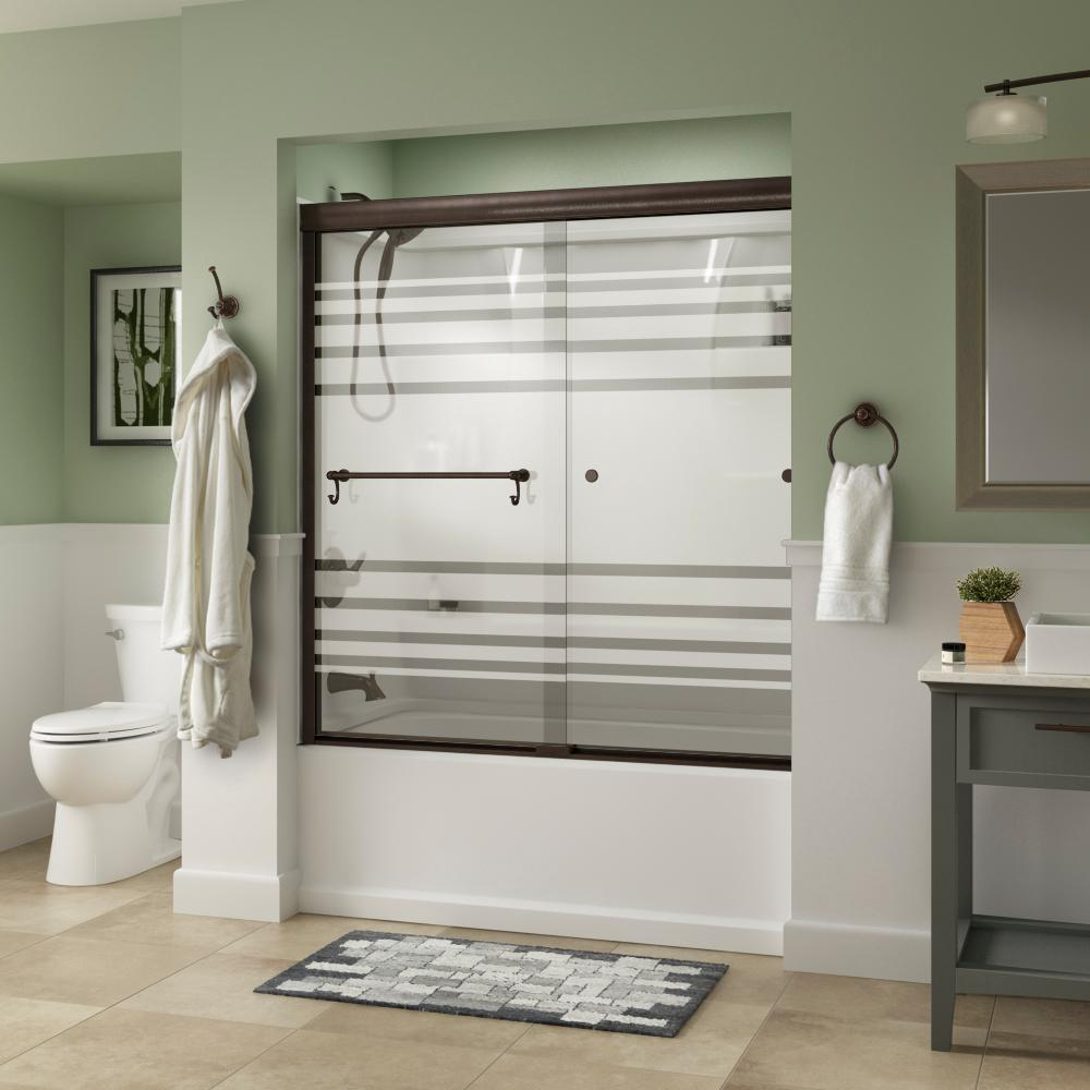Delta Portman 60 in. x 58-1/8 in. Semi-Frameless Traditional Sliding Bathtub Door in Bronze with Transition Glass was $427.0 now $319.0 (25.0% off)