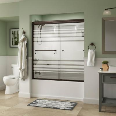 Portman 60 in. x 58-1/8 in. Semi-Frameless Traditional Sliding Bathtub Door in Bronze with Transition Glass