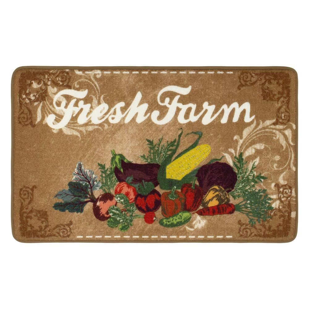 Chef Gear Natural Product 20 In X 32 In Hd Printed Kitchen Rug